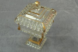 Vintage Jeannette Glass Gold Trim Covered Pedestal Square Candy Dish  - $19.79