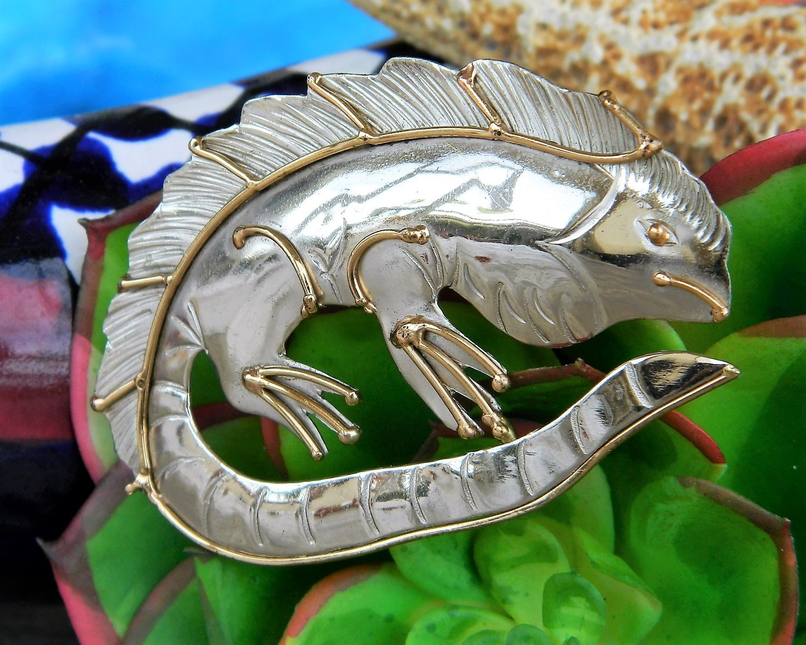 Primary image for Iguana Lizard Mixed Metal Brooch Pin Handcrafted Silver Gold Tone OOAK
