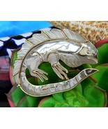 Iguana Lizard Mixed Metal Brooch Pin Handcrafted Silver Gold Tone OOAK - $44.48 CAD
