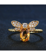 Bee Rings - 100% Natural Citrine 925 Sterling Silver - 14K Yellow Gold P... - $34.99