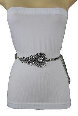 Women Hip Waist Belt Gold Metal Chain Light Pink Chunky Links Beads Size XS S M
