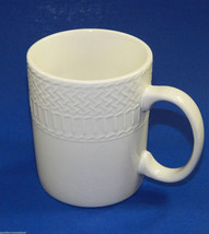 Farberware Blanc De BLanc White Coffee Mug Cup Stoneware Basketweave Pattern - $8.99