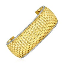 Wide Cuff Bangle with Basket Weave Texture in 14k Yellow and White Gold - $2,553.94
