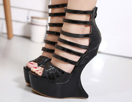 82s032 Cute strappy wedge sandals, alien wedge, US Size 4-9, black - $78.80