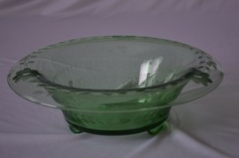 Green Glass  Floral Etched Console Bowl Possible Fostoria - $9.90