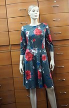 BLOOMING DRESS WITH POCKETS Floral Print 3/4 Sleeves Party Work Fit Flar... - $142.40