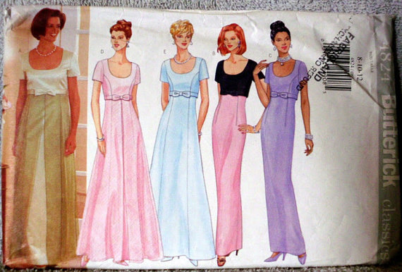 Butterick 4824 Vintage Gowns Dresses Formals Pattern Multi Size 8 10 12