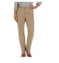 Lee Petite Women Relaxed Fit Plain Front Pants Beige Size 10SP NWT - $19.79