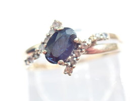 9ct Gold 0.50 carat Oval Cut Royal Blue Sapphire and Side Stones Ring  S... - $49.31