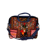 Vintage Boho Suede Leather Jaipur Laptop Bag with Antique Mirror-Work Th... - $99.99