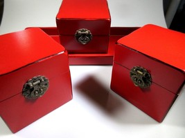 Asian Wooden Red Black Lacquer Storage Boxes & Tray Set Brass Latches 4 pcs - $33.83