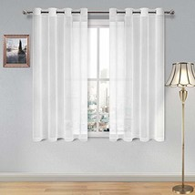 DWCN White Sheer Curtains Linen Look Grommet Curtain for Bedroom Set of ... - $14.65