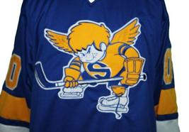 Custom Name Number Minnesota Fighting Saints Retro Hockey Jersey Blue #20 Any Si image 4