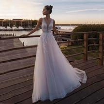 Sexy Sleeveless Deep V Neck Illusion Appliqued Bride Dress A-Line Tulle Luxury W
