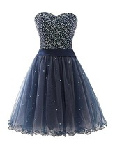 Nacy Blue Sequin Sweetheart Homecoming Dress Short Tulle A-line Prom Par... - $122.00