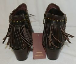 Lucky And Blessed SH11 Dark Brown Leather Boots Fringe Metal Studs Size 11 image 4