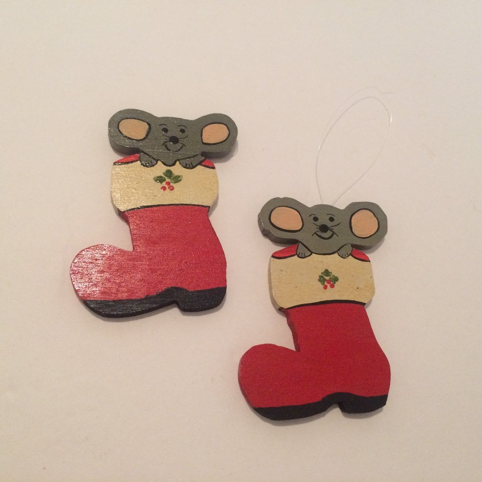 Christmas Tree Ornaments Mouse in Stocking Handmade Wood Decor 1980