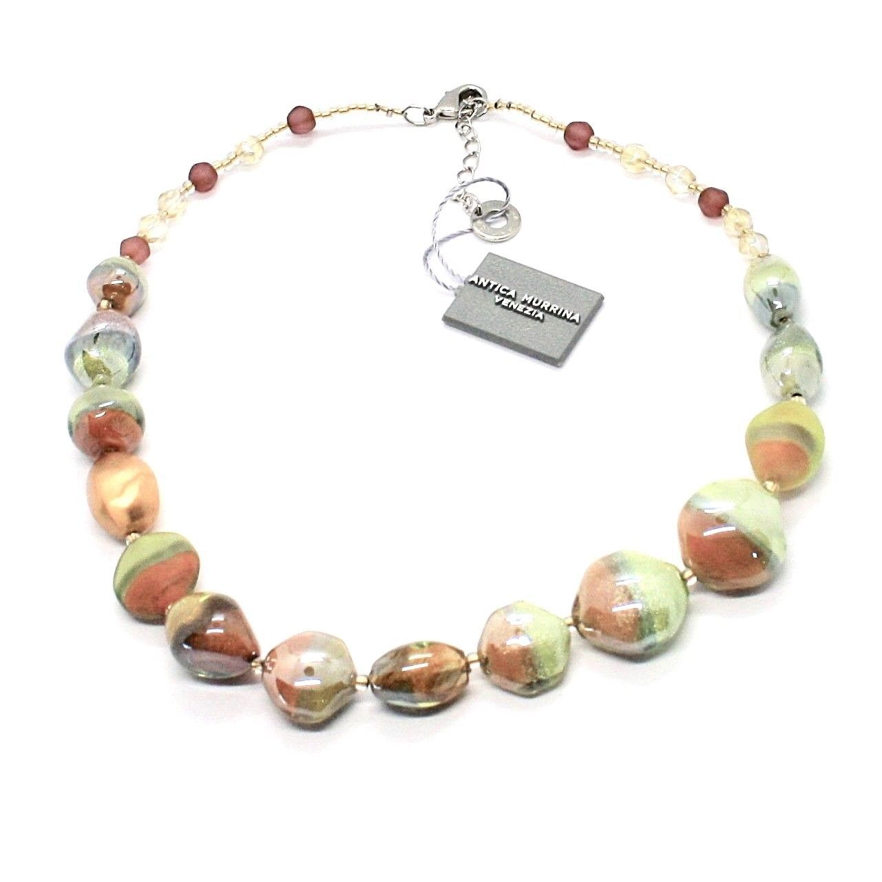 NECKLACE ANTICA MURRINA VENEZIA WITH MURANO GLASS GREEN BEIGE BRONZE CO980A10