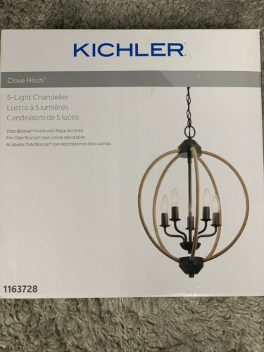 Primary image for New Kichler Clove Hitch 5-Light Olde Bronze Coastal Chandelier Retail $129