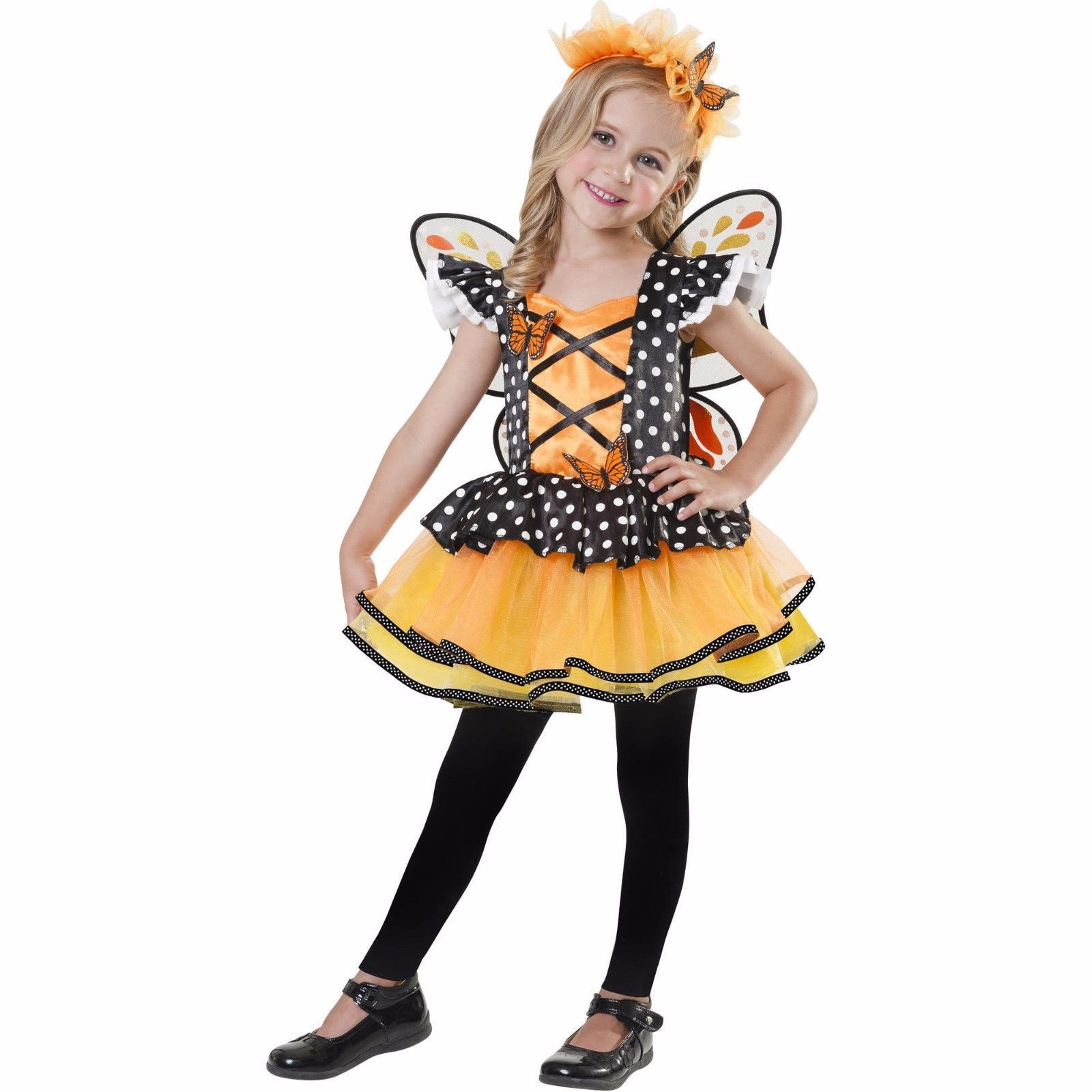 NEW Girls 3T-4T Halloween Costume Monarch Fairy 3 Piece Costume Wings Dress