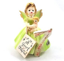 Vintage Josef Original Birthday Angel Girl 7 Holding Baby Figurine Porcelain Tag - $29.56