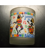 Barbados Shot Glass Jammin' in Frosted Glass Colorful Illustrations Wrap... - $7.99
