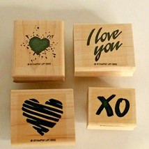 Stampin Up I Love You Mini Mounted Stamp Set of 4 Heart Sayings Hugs Kis... - $9.00