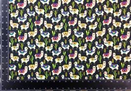 Llama Cacti Multi Black 100% Cotton High Quality Fabric Material 3 Sizes image 2