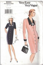 9424 UNCUT Vogue Sewing Pattern Misses Semi Fitted Lined Tapered Dress V... - $4.96