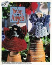 X258 Crochet PATTERN ONLY Clothespin Angels Poppy and Larkspur Dolls Pattern - $11.50
