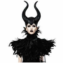 HOMELEX Gothic Black Crow Costume Feather Cape Shawl with Maleficent Hor... - €68,16 EUR