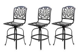 Armless patio bar stools set of 3 swivels Elisabeth cast aluminum furniture - £1,091.23 GBP