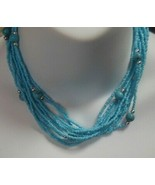 Signed Park Lane Silver-tone Multi-strand Blue Seed Bead Necklace - $18.80