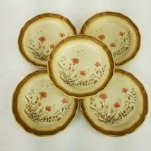 "(5) Mikasa Whole Wheat Jardiniere Salad Plates 8"" E8016 Stoneware Brown Floral - $42.06"