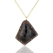 Pave Diamond Blue Sapphire Birthstone Jewelry Sterling Silver Pendant Je... - $125.73