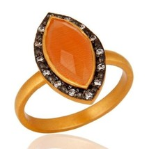 Marquise Cut Gemstone Peach Moonstone Ring Made In 24K Gold over Sterlin... - $19.80