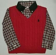Polo Ralph Lauren infant boy's plaid button down knit v neck sweater Vest  - $39.50