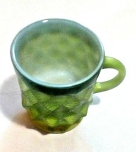 Vintage Anchor Hocking Fire King Kimberly Diamond Green Coffee Cup Mug - $8.91