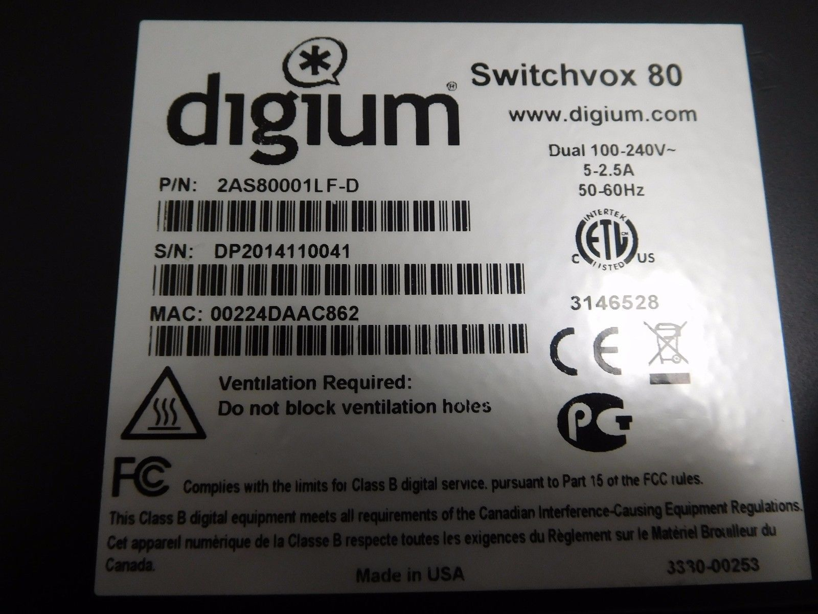 Digium Switchvox 80 Asterisk VoIP System 2AS80001LF-D 2AS80001LF image 6