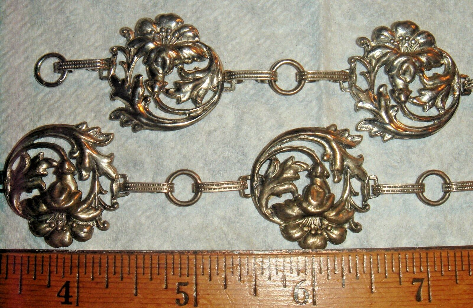 VTG RARE OOAK ART DECO STERLING SILVER FORGET ME NOT BLOSSOM FLOWER BRACELET SET