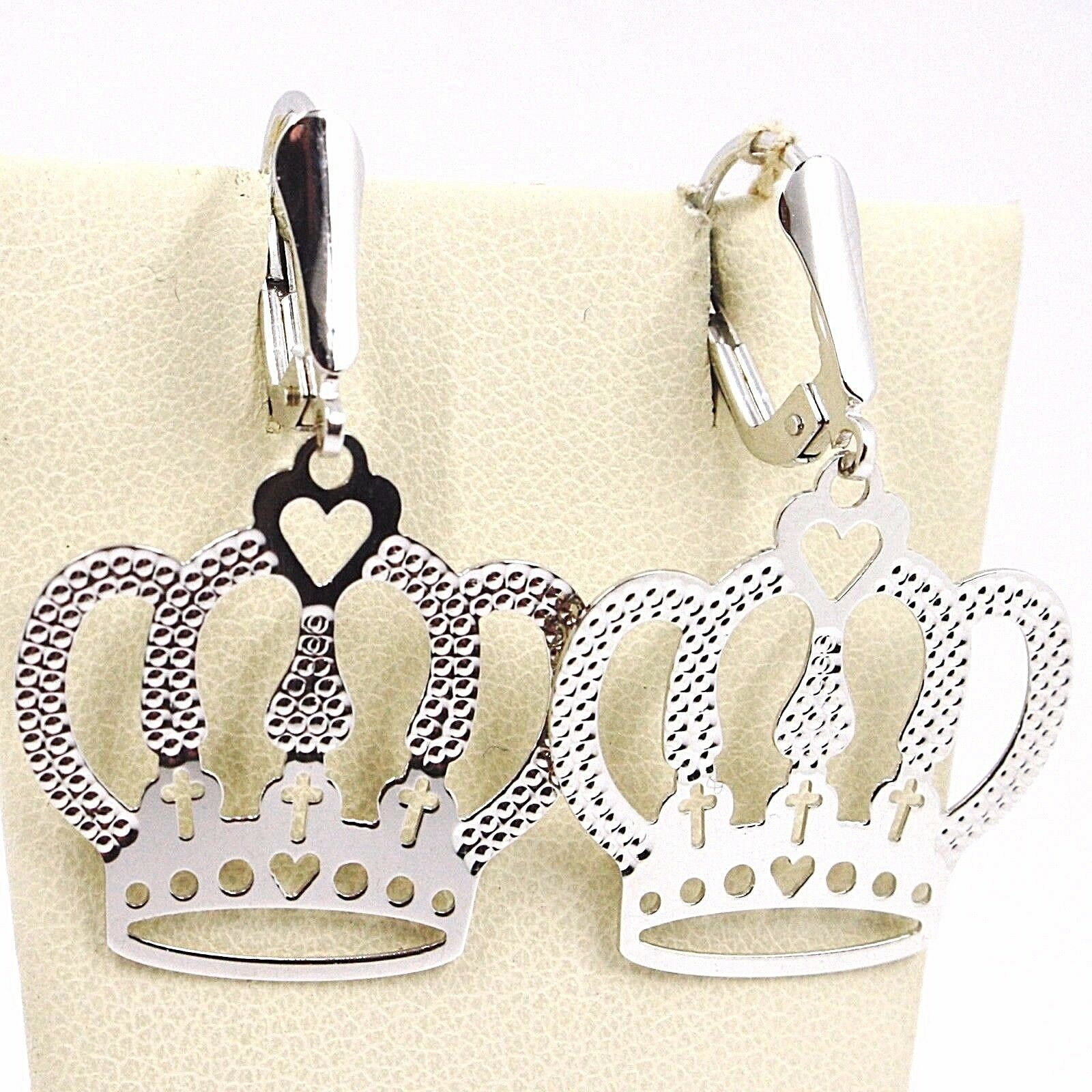 DROP EARRINGS WHITE GOLD 750 18K, CROWN, HEART, CROSSES, MADE IN ITALY