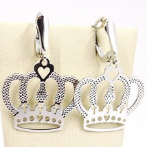 DROP EARRINGS WHITE GOLD 750 18K, CROWN, HEART, CROSSES, MADE IN ITALY image 1