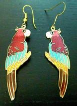 Vintage enamel parrot bird pierced drop dangle earrings 2 3/4 inch long - $12.22