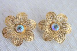 Vintage Avon AB Rhinestone Glistening Petals Earrings Pierced Gold Plate... - $13.49