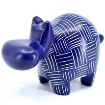 Vaneal Group Hand Crafted Carved Soapstone Dark Blue Hippopotamus Hippo Figurine image 2