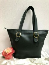 Rare Vintage Coach Buckle Bag Tote, Forest Green Leather - USA Made 1991... - $173.24