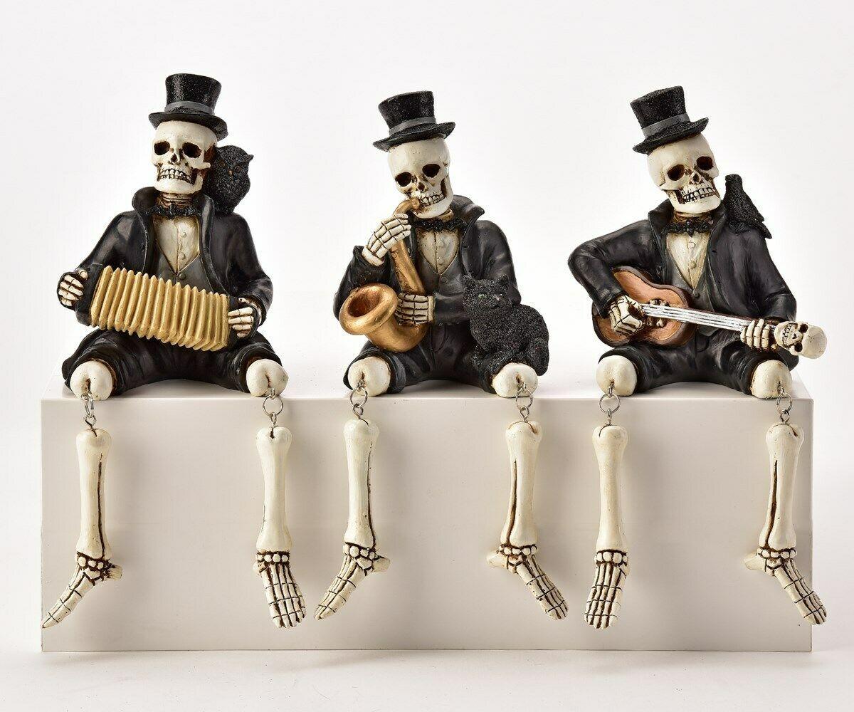 Set of 3 Skeleton Musical Shelf Sitters Playing Guitar Accordian Saxaphone Gift