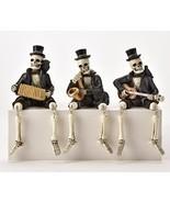 Set of 3 Skeleton Musical Shelf Sitters Playing Guitar, Accordian, Saxap... - $59.39