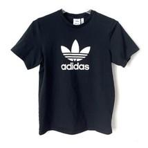 Adidas Trefoil Logo T-shirt Mens Medium Black White Casual Retro Look - $18.06