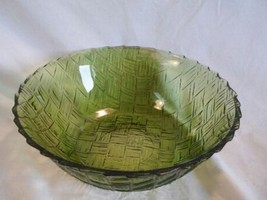 Vintage Green  Weavetex Bowl by Indiana Glass - $12.87